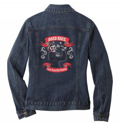 Skull Road Race Ladies Denim Jacket Designed By Estore