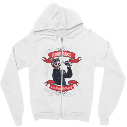 Skull Road Race Zipper Hoodie Designed By Estore