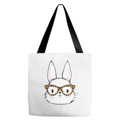 Leopard Rabbit Sunglasses Easter Day Tote Bags Designed By Badaudesign