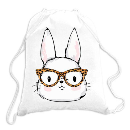 Leopard Rabbit Sunglasses Easter Day Drawstring Bags Designed By Badaudesign
