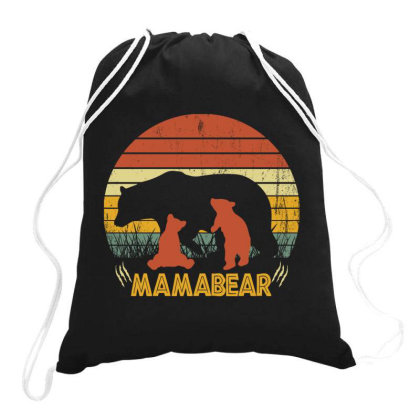 Mamabear Vintage Love Mother's Day Drawstring Bags Designed By Badaudesign