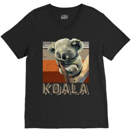 Koala Extinction Australia Bushfire V-neck Tee Designed By Badaudesign