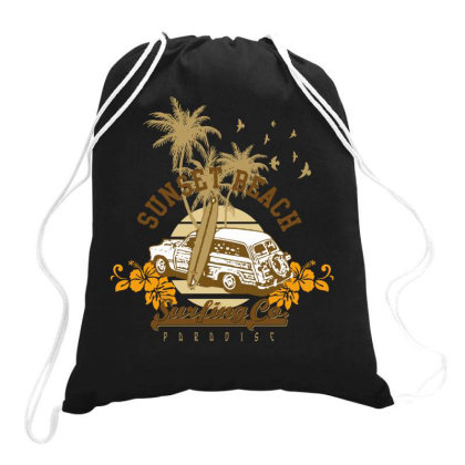 Sunset Beach Drawstring Bags Designed By Estore