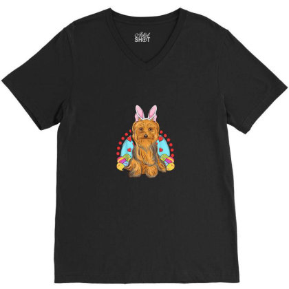 Cute Easter Gift Idea Yorkshire Terrier Yorkie Lovers V-neck Tee Designed By Asatya