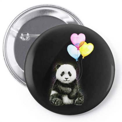 Baby Panda With Ballons Heart Pin-back Button Designed By Just4you