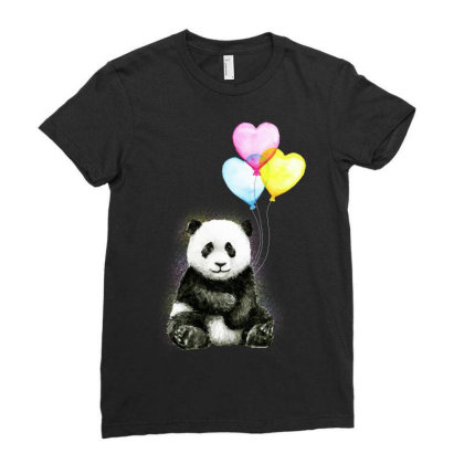 Baby Panda With Ballons Heart Ladies Fitted T-shirt Designed By Just4you