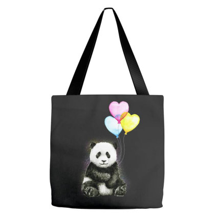 Baby Panda With Ballons Heart Tote Bags Designed By Just4you