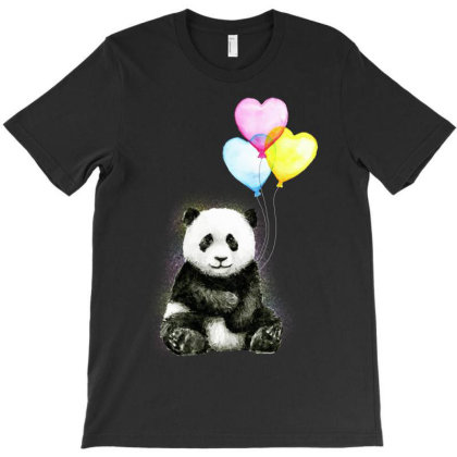Baby Panda With Ballons Heart T-shirt Designed By Just4you