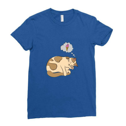 Cat Dreaming Of Icecream Ladies Fitted T-shirt Designed By Sr88