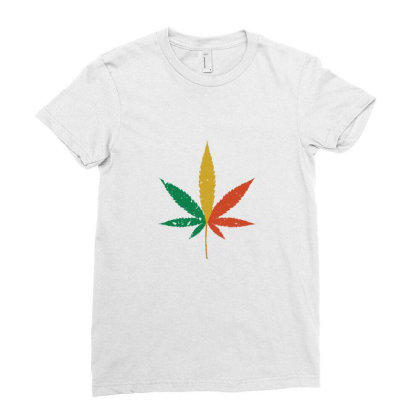 Colorful Marijuana Ladies Fitted T-shirt Designed By Sr88
