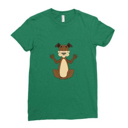 Dog Yoga Meditation Ladies Fitted T-shirt Designed By Sr88