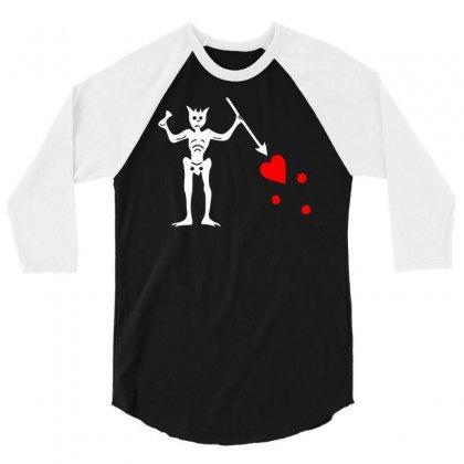 Blackbeard's Flag Pirate Edward Teach 3/4 Sleeve Shirt Designed By Mdk Art