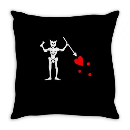 Blackbeard's Flag Pirate Edward Teach Throw Pillow Designed By Mdk Art