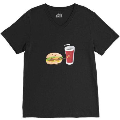 Fastfood Burger And Soda V-neck Tee Designed By Sr88