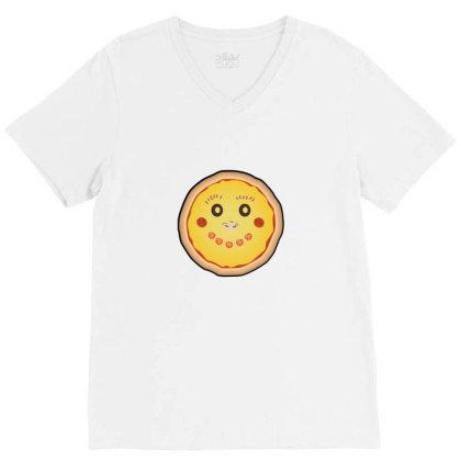 Funny Pizza Face V-neck Tee Designed By Sr88