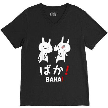 Funny Anime Baka Rabbit Slap Japanese V-neck Tee Designed By Mrt90