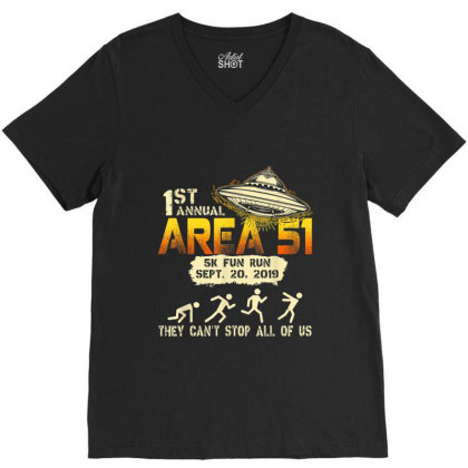 1st Annual Storm Area 51 5k Fun Run Ufo V-neck Tee Designed By Mrt90