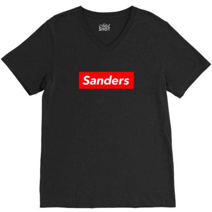 Sanders Red Box V-neck Tee Designed By Honeysuckle