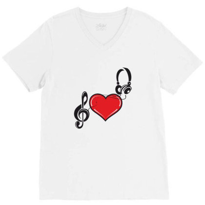 Love Music V-neck Tee Designed By Estore