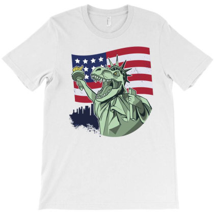 4th Of July Independence T Rex T-shirt Designed By Dirjaart