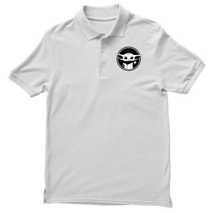 Baby Yoda Black And White Men's Polo Shirt Designed By Amber Petty