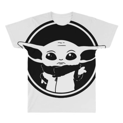 Baby Yoda Black And White All Over Men's T-shirt Designed By Amber Petty