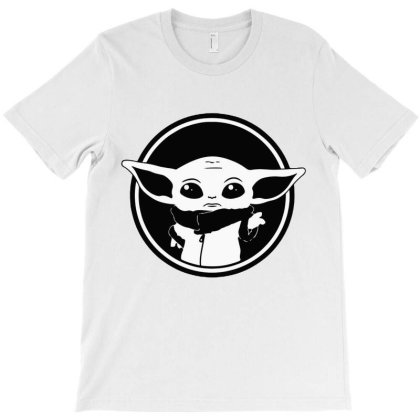 Baby Yoda Black And White T-shirt Designed By Amber Petty