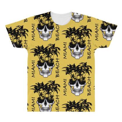Miami Beach Skull All Over Men's T-shirt Designed By Gurkan