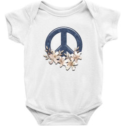 Peace Floral Baby Bodysuit Designed By Gurkan