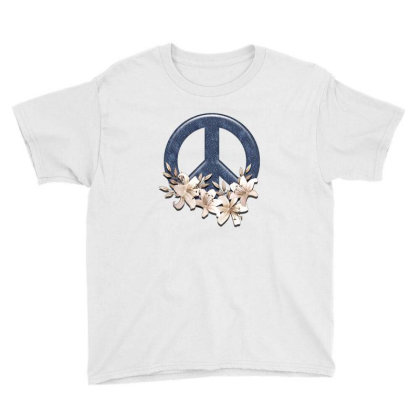 Peace Floral Youth Tee Designed By Gurkan