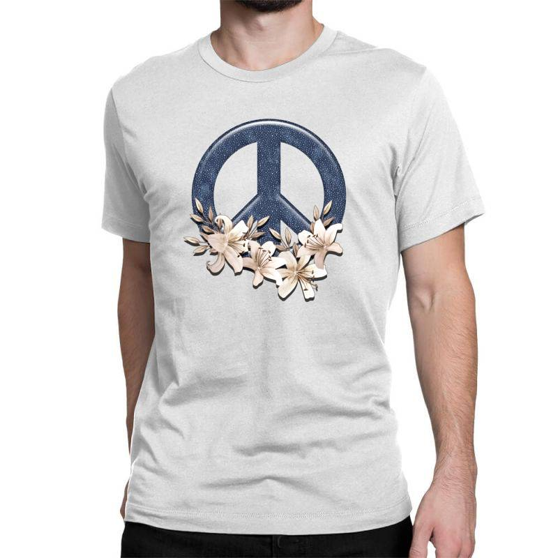 Peace Floral Classic T-shirt   Artistshot