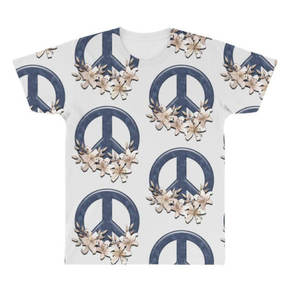 Peace Floral All Over Men's T-shirt Designed By Gurkan