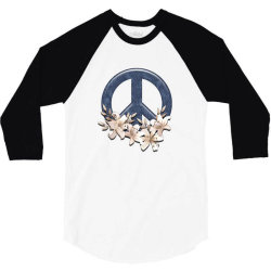 peace floral 3/4 Sleeve Shirt   Artistshot