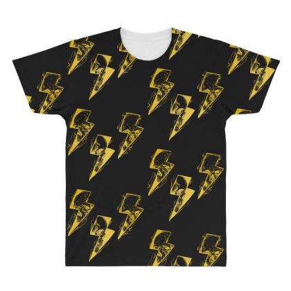 Lightning Skull Gold All Over Men's T-shirt Designed By Gurkan