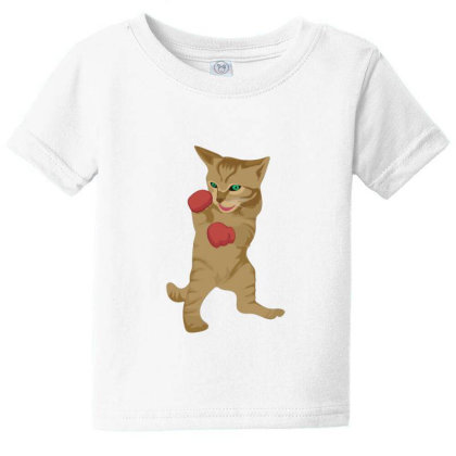 Cat Boxing Baby Tee Designed By Sr88