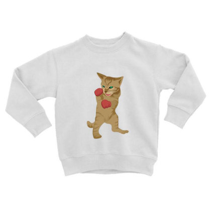 Cat Boxing Toddler Sweatshirt Designed By Sr88