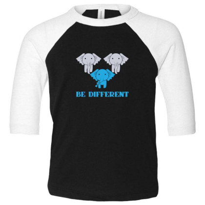 Elephant Be Different Toddler 3/4 Sleeve Tee Designed By Sr88