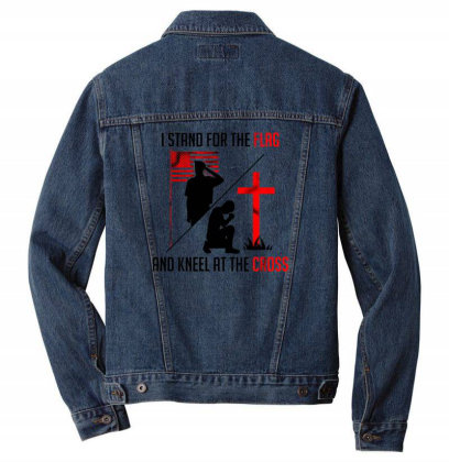 I Stand For The Flag And Kneel At The Cross Men Denim Jacket Designed By Starks