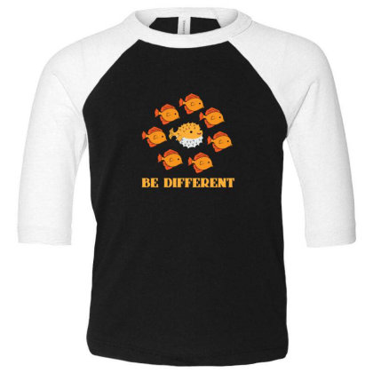 Fish Be Different Toddler 3/4 Sleeve Tee Designed By Sr88