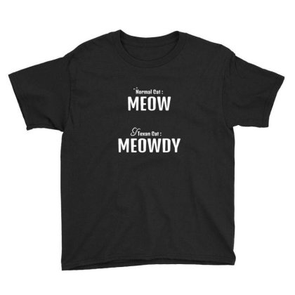 Texan Cat Meowdy Youth Tee Designed By Sr88