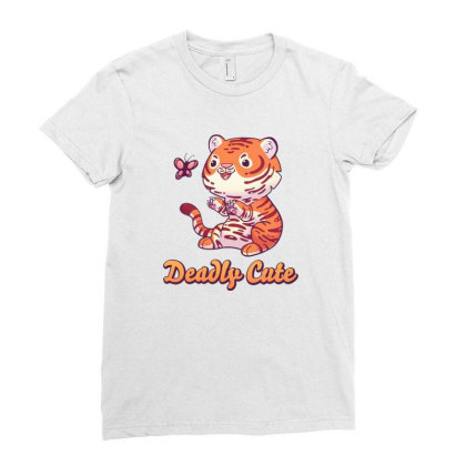 Deadly Cute Tiger Ladies Fitted T-shirt Designed By Starks