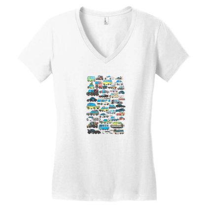 Famous Cars Women's V-neck T-shirt Designed By Starks