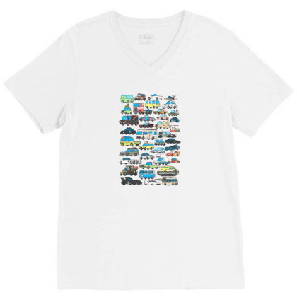 Famous Cars V-neck Tee Designed By Starks