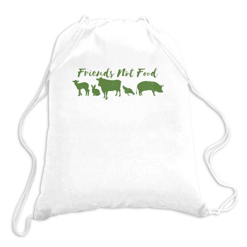 Animal Friends Vegan Drawstring Bags | Artistshot