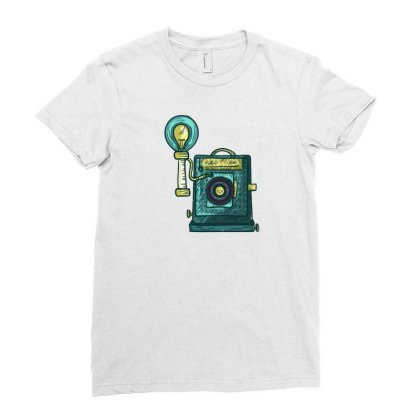 Antique Camera Ladies Fitted T-shirt Designed By Dirjaart