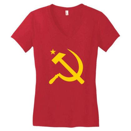 Communism Hammer Sickle Flag Women's V-neck T-shirt Designed By Ampun Dj