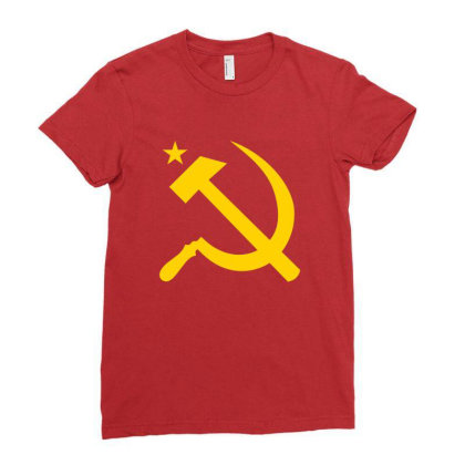 Communism Hammer Sickle Flag Ladies Fitted T-shirt Designed By Ampun Dj