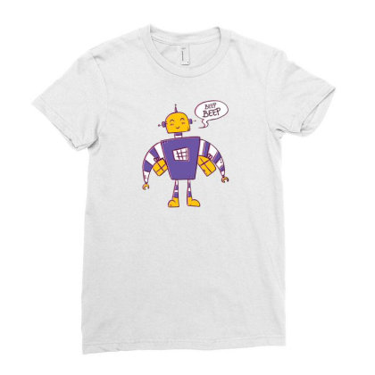 Beep Beep Robot Ladies Fitted T-shirt Designed By Dirjaart