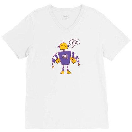Beep Beep Robot V-neck Tee Designed By Dirjaart