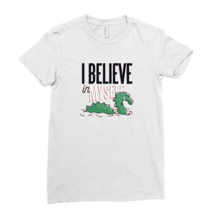 Believe Loch Ness Monster Ladies Fitted T-shirt Designed By Dirjaart